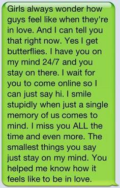 Simply adorable. How boys feel text <3