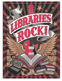 Libraries Rock! -- 2018 Summer Reading at New York Libraries poster, in conjunction with the national Collaborative Summer Library Program. Image is copyrighted by CSLP.