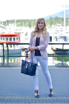 Click through for all the outfit details of this summer office look! These white pants are the BEST - not see through at all, great fit, and under $50!