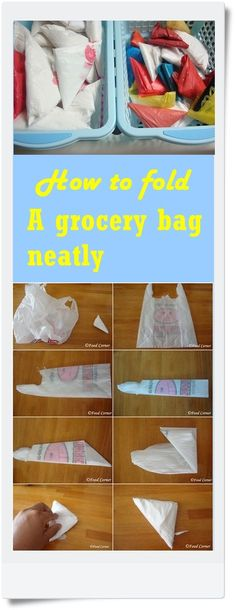 (Origami! who knew. Just another thought) How to fold a grocery bag and store them neatly