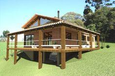 JULIANO GEHLEN ARQUITETURA Thai House, Style At Home, House Roof, My House, Cottage Design, House Design, Log Homes Exterior, Hillside House, Tudor House