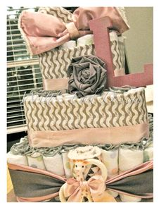 Pink and Gray Baby Girl 3-tier Square or Circle Diaper Cake or Shower Centerpiece