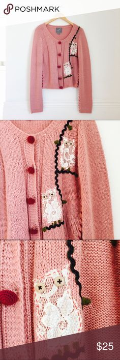 Modcloth cardigan Dusty pink cardigan with owls appliqués by Knitted Dove. Button closure. Acrylic. Size L (runs big). NEW WITHOUT TAGS. ModCloth Sweaters Cardigans