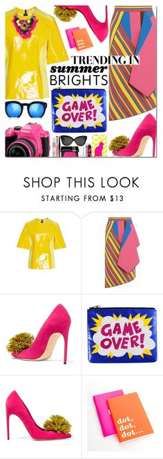 """""""Summer Brights"""" by bibibaubau ❤ liked on Polyvore featuring Sonia Rykiel, Peter Pilotto, Brian Atwood, Mary Katrantzou, Kate Spade, Pentax, Grey Ant and summerbrights"""