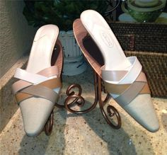 Auth $94 Talbots Natural Multi Linen Leather Mules Slides Shoes 7 5 M | $9.95 on eBay