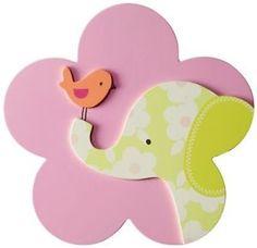 Jungle-Nursery-3D-Wall-Art-Baby-Girl-Elephant-Bird-Cute-Pink-Decor-Infant-New