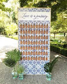 Luggage tag escort card wall with Portuguese tile design and hand calligraphy ⠀ ⠀ ⠀ Wedding Gift Tags, Beach Wedding Favors, Wedding Favor Bags, Wedding Souvenir, Nautical Wedding, Wedding Locations California, California Wedding, Romantic Wedding Receptions, Wedding Ideas