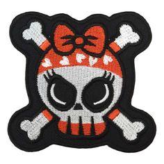Cute Skull Red & Black Bones - Extra Big Patch        Size: 8 x 8 cm   Price: €4.95      http://www.clarabella.nl/accessories/patch/extra-big/skull/cute-skull-red-black-bones-extra-big-patch/