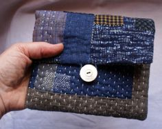 treasury : pouch/purse/wallet in linen and vintage Japanese fabrics, hand sewn