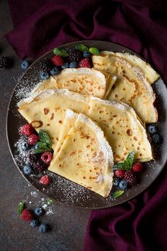 crepe filling and toppings on plate