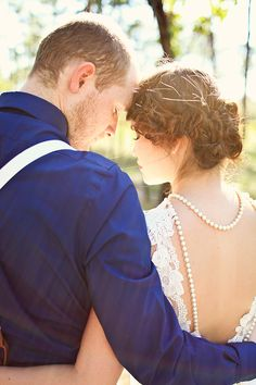 vintage glam gold and peach wedding inspiration lace ruffles bow tie suspenders. love her hair.
