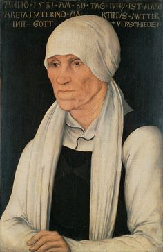 Lucas Cranach the Elder (German, 1472-1553). Portrait of Margaretha Luther, 1527. Mixed media on red beechwood. 37.5 x 24.5 cm (14 3/4 x 9 5/8 in.).