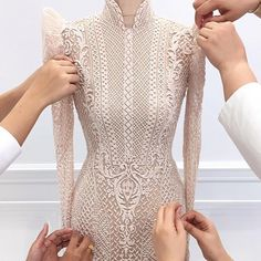 A couture outfit from Michael Cinco inspired by the traditional Filipino Barong and Terno, made of full bugle beads. Filipiniana Wedding, Filipiniana Dress, Barong Wedding, Michael Cinco, Couture Details, Fashion Details, Fashion Design, Couture Dresses, Fashion Dresses