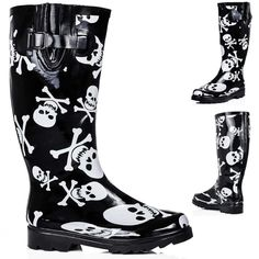 Womens Flat Skull And Bone Festival Wellies Knee High Rain Boots Size 3 - 8 Festival Wellies, Everyday Goth, Skull Shoes, Rain Gear, Unique Dresses, Gothic Fashion, Winter Boots, Womens Flats, Black Boots