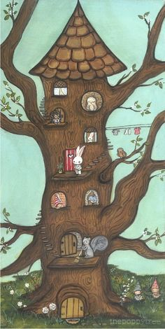 Tree Print Art Squirrel Owl Bird Hedgehog Animal Critter Owl Tree House Home Wall Art 5 x 10 on Etsy, $18.00