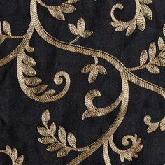 "Macire Curtain Panel available in black color with gold embroidery leaf/vine pattern : ready-made curtains including 108"" inch and 120"" inch curtains"