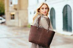 Chocolate tan luxury leather zip tote handbag. Fair-trade. Love this stylish piece!  www.bettyandbetts.com/shop