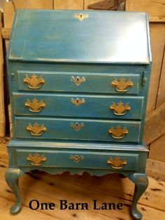 Painted Furniture - layered in CeCe Caldwell's Cinco Bayou Moss and Thomasville Teal, this drop-front secretary is stunning - by One Barn Lane