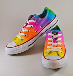 da3782c85d4311 Custom Dyed Neon Rainbow Converse All Star Low Top Shoes