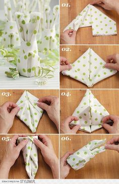 Make your own table decorations for Easter - 70 craft ideas for that special, personal touch - Easter bunny napkins fold table decoration make yourself - Easter Crafts, Holiday Crafts, Easter Ideas, Decorative Napkins, Napkin Folding, Bunny Napkin Fold, Easter Bunny, Diy And Crafts, Handmade