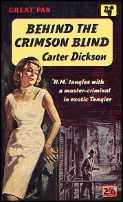 Behind the Crimson Blind by Carter Dickson.  PAN G340, 1960. Vintage Pan paperback book cover.