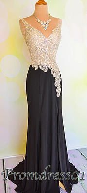 2015 elegant v-neck beaded black chiffon long prom dress for teens, custom made evening dress from #promdress01 www.promdress01.com