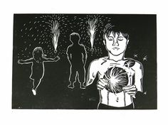 Diwali East London, Diwali, Kids, fireworks, East London, London, linocut, print, hand-pulled, black & white, Ellen Von Wiegand #interiordeco #interiordesign #art #artforsale #wallart