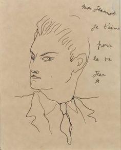 Jean COCTEAU (1889 - 1963)  «Jean Marais » Dessin à la plume, dédicacé « Mon Jeannot je t'aime pour la vie » et signé sur la droite. 24 x 19 cm