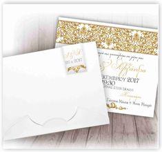 d30e5dc87a0d Προσκλητήριο Γάμου κλασσικό με χρυσές λεπτομέρειες μόνο με 0.60 ευρώ με  φάκελλο κουτί πολυτελείας!!! www.aquarella.gr
