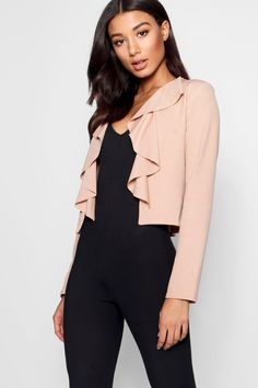 008d0e702c4 Click here to find out about the Ruffle Neckline Short Blazer from Boohoo