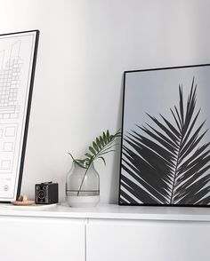 A palm leaf next to the 'Palm Leaf' print taken a little while ago #cocolapine
