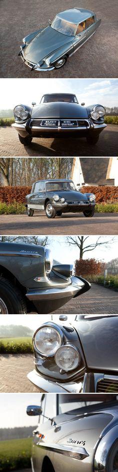 Citroën DS19 Majesty Spécial by Henri Chapron 5/1965 [photos Gina Classics] met verhoogd dak en afwijkende deuren 'suicide', de voordeuren zijn ingekort en de achterdeuren juist verlengd. Een éénmalige versie van de Majesty destijds gemaakt in opdracht van bankdirecteur Dreyfus. Nu vraagprijs € 259.000