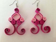 Quilling Earrings Pink - YouTube