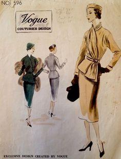 1950 Vintage Vogue Couturier Designer Draped Jacket Dress Sewing Pattern #596