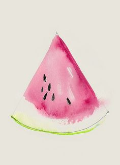 This watercolor illustration shows the difference between botanical illustration and merely suggesting a slice of watermelon. Watercolor Pencils, Watercolor Art, Watercolors, Simple Watercolor Paintings, Easy Water Colour Painting, Water Colour Ideas, Fruit Painting, Water Colour Tutorial, Water Colour Flower