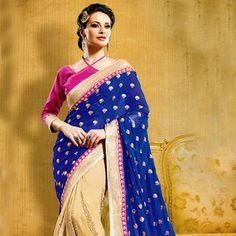 Looking for latest designer party wear sarees or traditional party wear sarees? Shop online from the party saree collection at Utsav Fashion for fancy party sarees. Party Wear Sarees Online, Party Sarees, Blue Saree, Sari Blouse, Fancy Party, Bindi, Saree Collection, Blouse Designs, Blouses