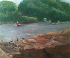 Georges River from Albert De Lardes Reserve, Illawong. Oil on canvas board 30x25cm.