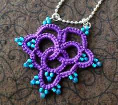 Purple and Teal Love  Needle Tatting  Pendant by JewelrybyDenise, $18.00