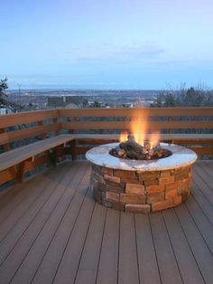 This stone and marble fire feature is perfectly situated in the middle of a spacious deck surrounded by incredible city views. Built-in bench seating offers plenty of space to host a large party, as well as the option to pull up a chair and take in the warmth of the fire.