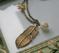 Bronze Feather Necklace in Antique by brightstarjewelry on Etsy