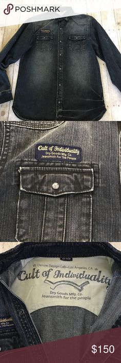 """✨Cult of Individuality Jean Jacket!✨ Excellent condition, amazing Cult of Individuality Jean jacket in dark wash. 31"""" shoulder to hem. Cult of Individuality Jackets & Coats"""