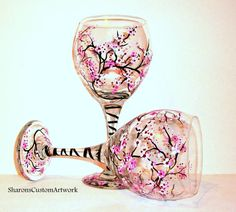 Hand Painted Wine Glasses Cherry Blossoms by SharonsCustomArtwork