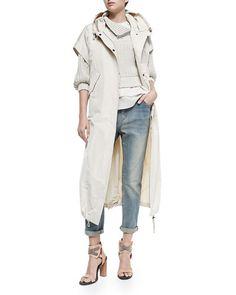 -5HRH Brunello Cucinelli Layered Silk Crepe Tank & Elbow-Sleeve Sweater W/ Zip Shoulder & Short-Sleeve Hooded Taffeta Maxi Coat