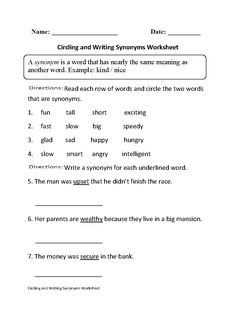 replacing words with synonyms worksheets board pinterest worksheets and. Black Bedroom Furniture Sets. Home Design Ideas