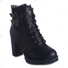 d0cd60f98a Chunky Heel Buckles Front Lace-Up Short Boots (£30) ❤ liked on