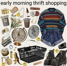 ropa Striped sweater and jean shorts Vintage Outfits, Retro Outfits, Hippie Outfits, Casual Outfits, Aesthetic Fashion, Look Fashion, Aesthetic Clothes, Fashion Outfits, Aesthetic Memes