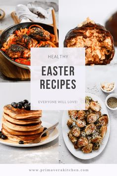 Healthy Easter Recipes That Everyone Will Love - Primavera Kitchen Healthy Easter Recipes that'll please everyone. They're not only healthy, but delicious & easy to make. Brunch recipes, side and main dishes & sweet treats. Gluten Free Recipes For Breakfast, Best Gluten Free Recipes, Paleo Recipes, Skillet Recipes, Paleo Menu, Veggie Side Dishes, Healthy Side Dishes, Main Dishes, Healthy Spring Recipes