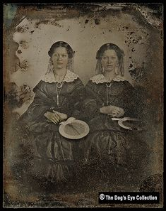 Twins With Fans: Ambrotype c.1860 | Sixth Plate Ambrotype. | Flickr