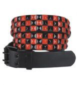 Red and Black Studded Belt Studded Belt, Faux Leather Belts, Punk Goth, Shoe Bag, Polyvore, Red, Gifts, Stuff To Buy, Accessories