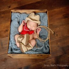 Cute as Can Be Cowboy Hat and Booties Set for Newborn Boys